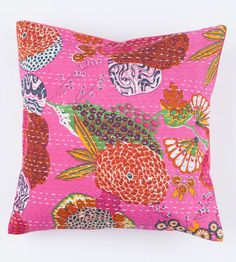 Large 20x20 Light Pink Floral Pillow