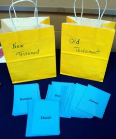 Old and New Testament Books of the Bible - Sorting Game. Using 2 bags - label one Old Testament and the other New Testament. Add cards that have the names of the books of the Bible. Bible Study For Kids, Bible Lessons For Kids, Bible Activities For Kids, Church Activities, Bible Games For Youth, Bible School Games, Kids Church Games, New Testament Books, Old And New Testament