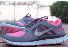 Sparkle Shoes Silver Bling Nike Free Run 3 Womens swarovski Hyper Pink Grey Shoes 2015 Halfprice Nikes