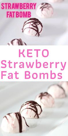 Keto Strawberry Fat Bombs with Chocolate Drizzle makes the perfect low carb/ keto snack. Keto Strawberry Fat Bombs with Chocolate Drizzle makes the perfect low carb/ keto snack. Keto Fat, Low Carb Keto, Low Carb Recipes, Healthy Recipes, Ketogenic Recipes, Ketogenic Diet, Healthy Food, Keto Chocolate Fat Bomb, Low Carb Chocolate