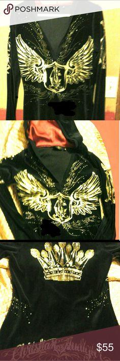 Christian Augigier hooded shirt Gorgeous Christian Audigier velvetty soft warm hooded shirt or  jacket. Christian Audigier Sweaters