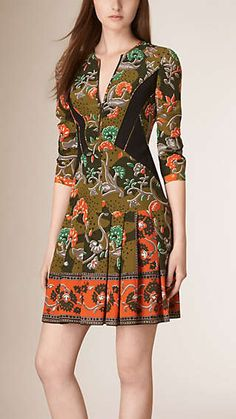 Floral Print Silk Dress lex