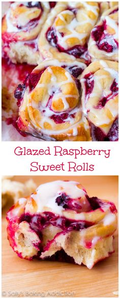 - next time we visit hope to eat these ! Raspberry Sweet Rolls - these are so good! Soft & fluffy sweet roll dough filled with juicy raspberries and drizzled with glaze. Just Desserts, Delicious Desserts, Dessert Recipes, Yummy Food, Raspberry Recipes, Raspberry Buns, Sallys Baking Addiction, Strudel, Sweet Bread