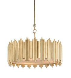 Loving this retro inspired gilded pendant. Lighting by Currey and Company - 9367 #lighting #chandeliers #pendants