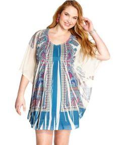 One World Plus Size Dress, Batwing Sleeve Printed Mesh Tunic - Plus Size Dresses - Plus Sizes - Macy's