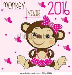 cute monkey in a skirt with hearts and dots vector illustration