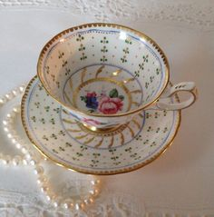 Royal Chelsea Hand Painted Tea Cup and Saucer by TheEclecticAvenue