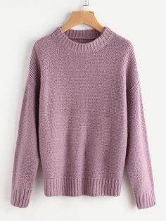 83a75b4be3 Shein Rib Trim Drop Shoulder Jumper Long Sleeve Sweater, Loose Sweater,  Pullover Sweaters,