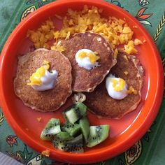 mango coconut pancakes- Just add finely chopped mango (I used a ninja and pulsed) and shredded unsweetened coconut to your pancake batter. As alway we use @pamelasproducts gfree pancake mix! and I used coconut oil instead of regular in my batter!