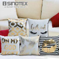 Bronzing Sarung Bantal Dicetak 43x43 cm/17x17 ''Linen & Polyester Sarung Bantal Dekoratif Rumah Sofa Sarung Bantal
