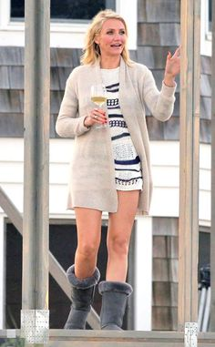 """Cameron Diaz enjoys a glass of wine on """"The Other Woman"""" set"""