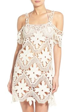 "For Love & Lemons 'Monaco' Large floral motifs float in the mesh background of this lacy cold-shoulder cotton cover-up, an alluring option for the end of a day of sun bathing. 34 1/2"" length (size Medium). Slips on over head. Short sleeves. 100% cotton. Machine wash cold, line dry. By For Love & Lemons; imported. BP."