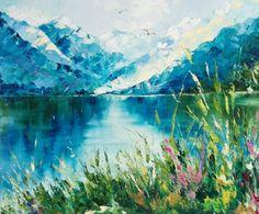 Купить Алтайская сказка - тёмно-синий, горы, пейзаж маслом, масляная живопись, природа, художник