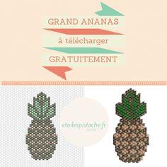 """Diagramme """"grand Ananas"""" brickstitch gratuit pour reproduction à titre privé (pas de commercialisation). (c) Des Etoiles à la Pistache. Peyote Patterns, Beading Patterns, Beaded Earrings, Beaded Jewelry, Peyote Beading, Beadwork, Ladder Stitch, Beaded Animals, Happy Mail"""