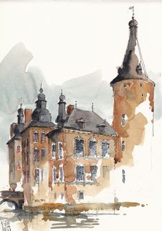 Watercolor City, Watercolor Sketchbook, Watercolor Drawing, Watercolor Illustration, Watercolor Paintings For Beginners, Watercolor Pictures, Watercolor Landscape Paintings, Architecture Drawing Art, Watercolor Architecture