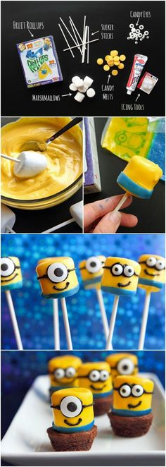 Marshmallow Despicable Me Minions! Too cute :-)Marshmallow Despicable Me Minions! Too cute :-) Marshmallow Despicable Me Minions! Too cute :-)Marshmallow Despicable Me Minions! Marshmallow Pops, Dipped Marshmallows, Yummy Treats, Delicious Desserts, Sweet Treats, Yummy Food, Mini Desserts, Cupcakes Dos Minions, Diy Cupcake