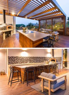 This modern outdoor entertaining space has a wood pergola, an outdoor kitchen and a lounge area. A wood island with a grey countertop provides space for cooking and eating, while a prep area with a patterned tile backsplash can be used to make pizzas in the wood fired oven.