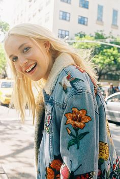 60fcf45273eb41 Carlotta Kohl, 23, in a Gucci denim embroidered jacket. Produced by Vogue  for