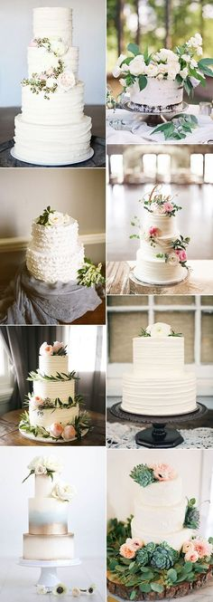 2017 trending elegant wedding cakes accented with green floral