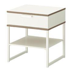 TRYSIL Bedside table, white, light grey EGP 345