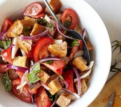 "Panzanella (Bread and Tomato Salad) - Lidia's Italy ""You can serve it on its own, or with mozzarella or prosciutto or, for added complexity, seared shrimp. It is also delicious when served with grilled meats or poultry."""
