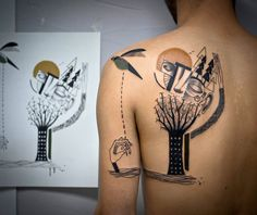 Tomlinson Kev James geometri tattoos: cubism, surrealism.