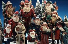 Vaughn & Stephanie Rawson Hand-carved Wooden Santas