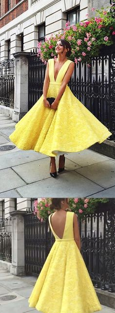 2018 yellow prom dresses, elegant ankle length prom dresses, yellow evening dresses graduation dress