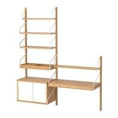 SVALNÄS, Combinazione di mobili da parete, bambù, bianco