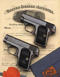 Colt Model 1908 Vest Pocket .25 ACP Serial Numbers 1 & 2 with original August 25, 1896 patent and 1909 Colt Catalog.