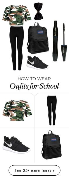 """""""Casual school day"""" by oliviarush on Polyvore featuring Wolford, NIKE, JanSport and Lancôme"""