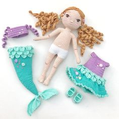 Crochet, mermaid dolls with removable tails PDF Mermaid Kaelyn Crochet mermaid Crochet by DuduToyFactory You can access more content by visiting the site. Mermaid Doll pattern with removable tails - nose shaping for amigurumi crochet doll face - Salvabran Doll Amigurumi Free Pattern, Crochet Doll Pattern, Crochet Toys Patterns, Crochet Patterns Amigurumi, Amigurumi Doll, Stuffed Toys Patterns, Doll Patterns, Knitting Patterns, Crochet Doll Clothes