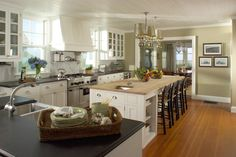 Planning On White Cabinets With A Darker Wood Island And Wood Plank Tile Floors Kitchen