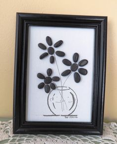 "Pebble Art Picture ""FLOWER VASE"" Black on White Floral Art on Canvas - Beach Pebbles and Ink Drawing"