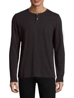 Theory Cosmos Henley Tee In Black Henley Tee, Nick Miller, New Girl, Theory, Mens Fashion, Cotton, Mens Tops, Clothes, Shopping