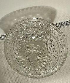 Fostoria Diamond Cut Pattern Glass Candy Dish with Foot and Lid Vintage