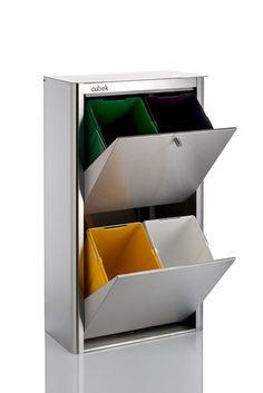 Cubo de reciclaje met lico de 4 puertas blanco cosas que for Papelera reciclaje ikea