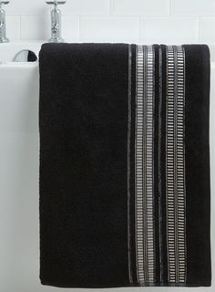 The Linen Collection Patterned Bath Sheet Black - towels  - For The Home