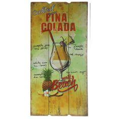 Houten wanddecoratie Pina Colada cocktail. Wandbordje van hout met een tropische afbeelding en de tekst: Pina Colada. Formaat: ongeveer 30 x 60 cm.