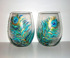 Painted  Stemless Wine Glasses Hand painted Peacock Feathers,Wedding,Anniversary,BirthdaySpecial Occasion Set of Two 21 oz.. $40.00, via Etsy.