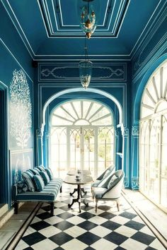 10 Dreamy rooms with black & white tiles you will instantly love (Daily Dream Decor) Blue Rooms, Blue Walls, Dark Walls, Ceiling Texture Types, White Tiles, Trendy Colors, Neutral Colors, Interior Inspiration, Design Inspiration