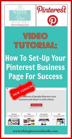 "PINTEREST VIDEO TUTORIAL: ""HOW TO SET-UP YOUR BUSINESS PAGE FOR SUCCESS"" that you need to watch using Pinterest's NEW VERSION! Click here to watch the video http://www.whiteglovesocialmedia.com/pinterest-new-version-for-businesses-video-tutorial-how-to-set-up-your-business-page-for-success/✭Pinterest Marketing Expert✭"