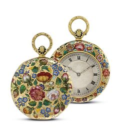 LE ROY HGER, DU ROI, PALAIS ROYAL GOLD AND ENAMEL OPENFACE KEYWOUND POCKET WATCH WITH KEY, NO. 7977, CIRCA 1830, Gilt-finished cylinder movement, gold cuvette, silvered engine turned dial with Roman numerals and chapter ring, gold case, bezel and case back decorated with painted multi -colored enamel flower motifs, cuvette signed and numbered 7977, case numbered 8853, Diameter: 35 mm.