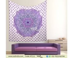 Redecorate room with ombre mandala tapestry wall hanging in vibrant purple color pattern. This exquisite ombre screen printed cotton twin handmade bedding comes with a traditional round design. This psychedelic pattern hippie tapestry is an interesti Wall Hanging, Mandala Wall Hanging, Tapestry, Bed Wall, Hanging Bed, Bohemian Bedspread, Tapestry Wall Hanging, Boho Bedding, Mandala Bedding