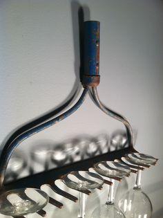 From Cassy of Zassy's Treasures & Design - vintage rake repurposed as wine glass holder!