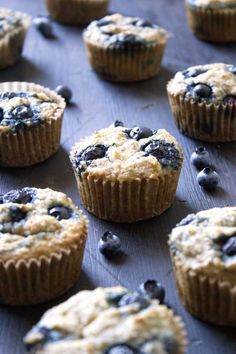 Moist and delicious banana-blueberry muffins full of healthy ingredients! Paleo friendly and free of gluten, grains, dairy, and refined sugars.