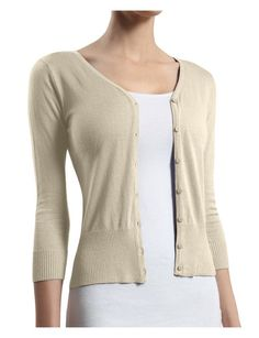 RubyK Womens Basic V Neck Clean Rib 3/4 Sleeve Knit Cardigan Sweater