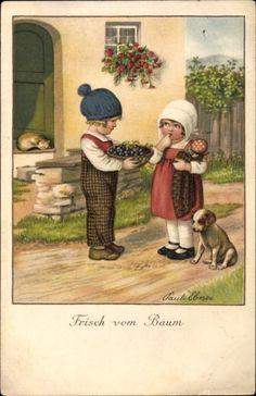 Artist Postcard Ebner, Pauli, Frisch vom Baum, Kinder, Hund, Katze