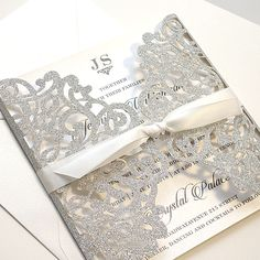 Silver Glitter Wedding Invitations Laser Cut