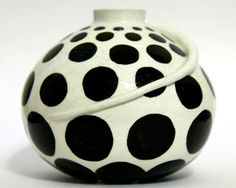 White Vase with Black Spots  Ceramic Pottery by AmuseYou on Etsy